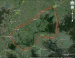 Satellite image of Strathbogie Ranges region. Dark green=forest cover, green= agricultural land