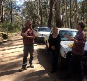 Sim, Clare and Bert at one of VicForests' coupes.