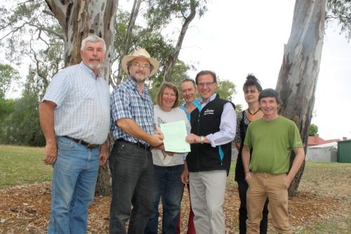 Members of the Strathbogie Sustainable Forests Group with Tony Schneider, accepting Minister Smith's letter promising a VEAC investigation.