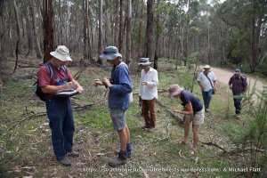 Survey group checking locations and calibrating instruments at the start of a transect survey.