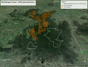 Barjarg Rd and Dry Creek planned burns - a vast area to be burnt in a single year.